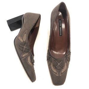 "Sesto Meucci Heels Suede Leather Pumps 3"" Chunky"